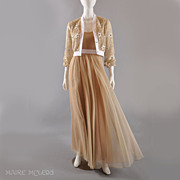 Jack Bryan 1970s Long Chiffon Gown / Embr'd Beaded Jacket S
