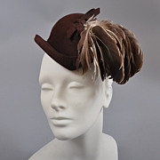 1940s Forward Tilted Felt Hat-Gorgeous Feathers