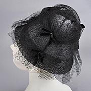 1950s Net Tulle Helmet Style Hat - Ribbons/Rhinestones G. Fox