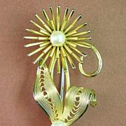 Gold Filled Pearl Flower Brooch