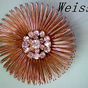 Weiss Wire Design Brooch, Rhinestone Center