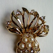 Floral Bouquet Faux Pearl and Rhinestone Brooch
