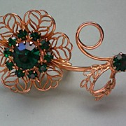 Filigree Flower Brooch with Emerald Green Rhinestones
