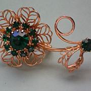 Filigree Flower Brooch with Emerald Green Rhinestones