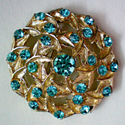 Beautiful Aqua Rhinestone Brooch