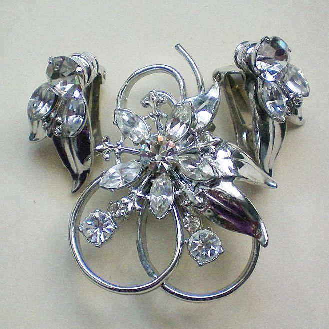Rhinestone Set of Pendant / Brooch and Clip Earrings