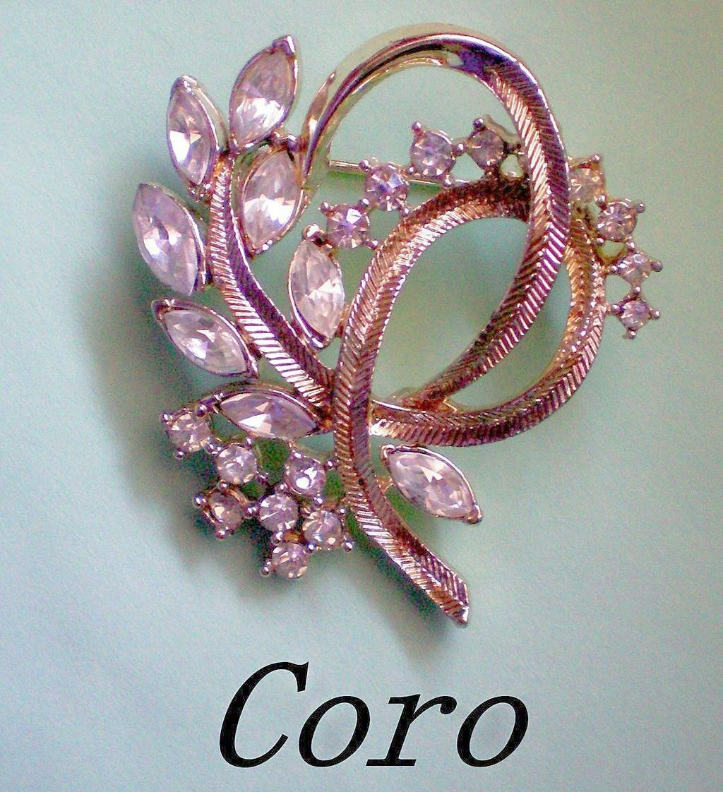 CORO Brooch with Round and Marquis Cut Rhinestones