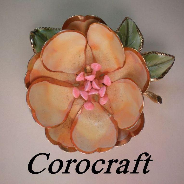 Signed Corocraft Enamel and Metal Flower Brooch