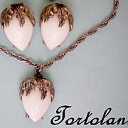 Milk Glass Tortolani Necklace & Earrings