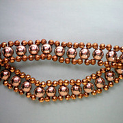 Brass and Metal Bead 1950's Necklace and Bracelet