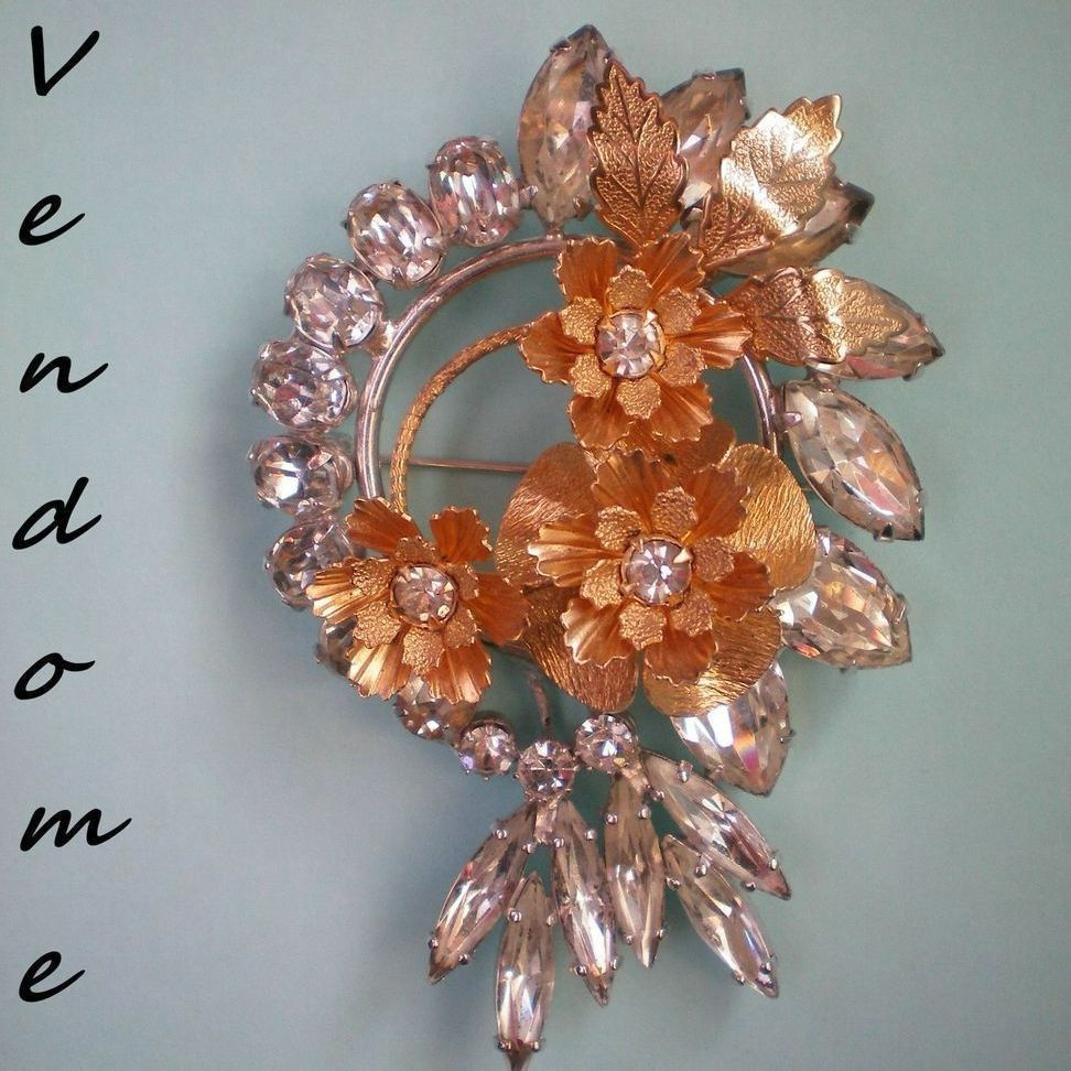 Vendome Rhinestone and Gold Metal Flower Brooch
