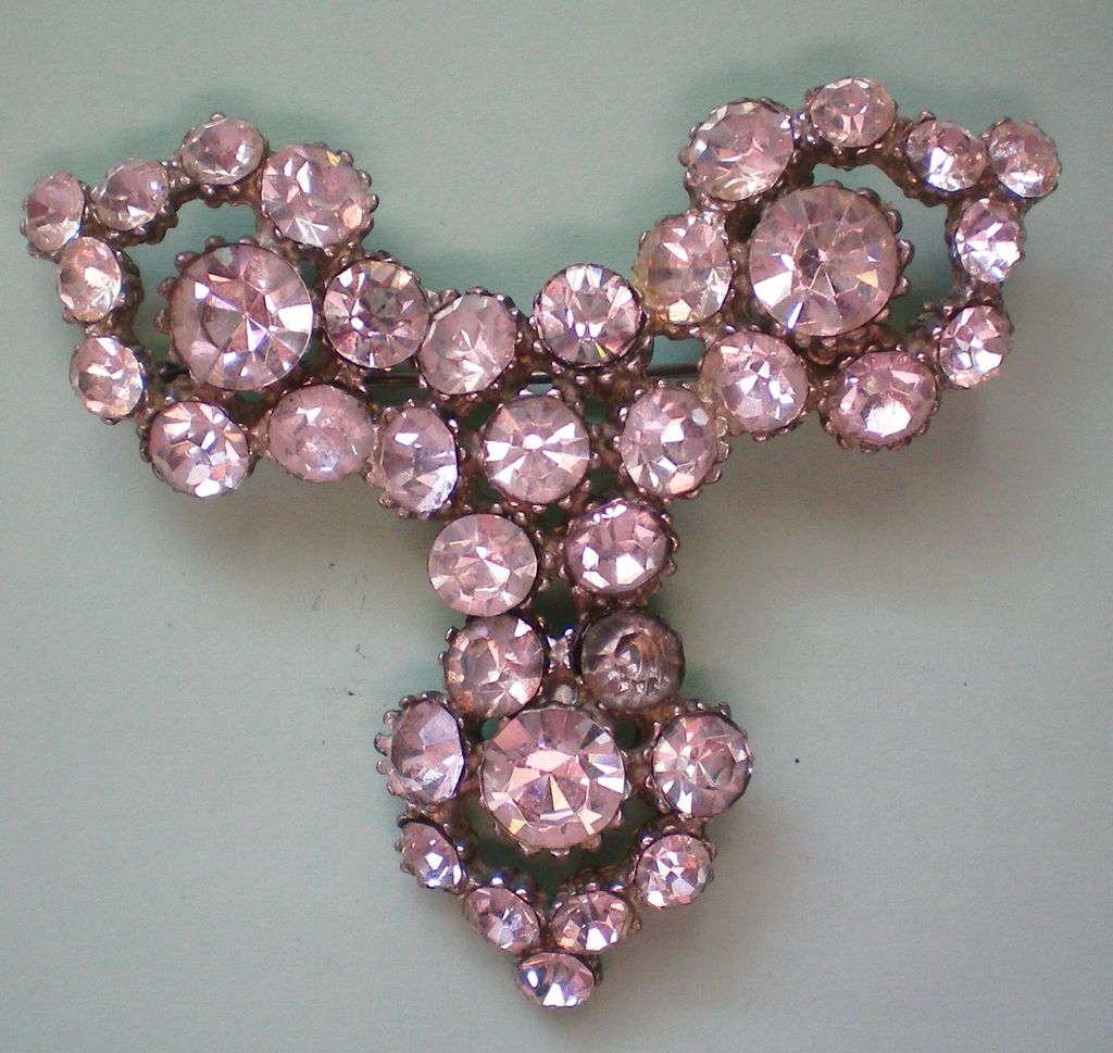 Large Foil Backed Pot Metal Rhinestone Brooch