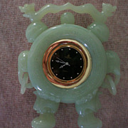 Carved Jade Chinese Dragon / Elephant Clock
