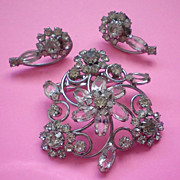 Crystal and Rhinestone Brooch & Pierced Earrings