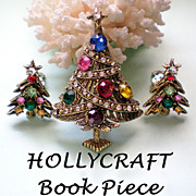 HollyCraft Book Piece - Christmas Rhinestone Ribbon Tree & Earrings