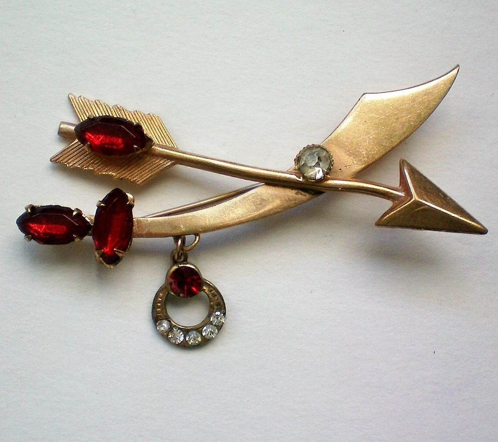Sword Arrow & Crescent with Ruby Red Rhinestones Pin