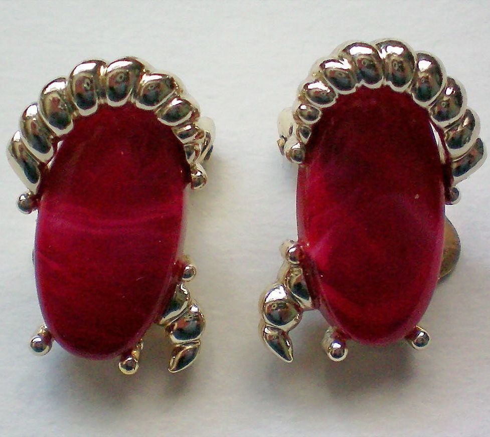 Kramer Red and Silver tone Clip Earrings