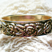 Floral Hinged Bangle with Rose Design