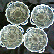 Four Opalescent Moonstone Hobnail Handled Bowls 1940's