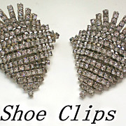 Vintage Rhinestone Waterfall Shoe Clips