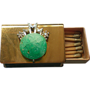 Match Safe with Faux Jade Decoration and Clip