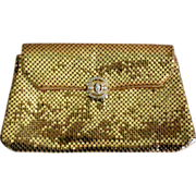 Whiting & Davis Gold Mesh Clutch Rhinestone Clasp