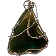 Sterling Silver Wire Wrapped Agate Pendant