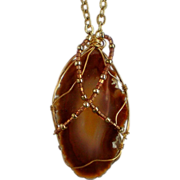 Wire Wrapped Brown Agate Stone Pendant