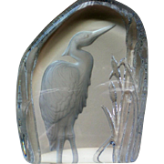 Crystal Sulfide Heron Bird Glass Paperweight
