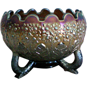 Fenton's Flowers Nut Bowl Shape Footed Bowl