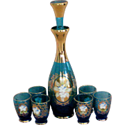 Bohemian Blue Glass Decanter Set with 6 Cordials
