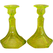 Vaseline Uranium Glass Candlesticks