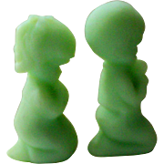 Fenton Green Satin Glass Praying Boy and Girl Figurines