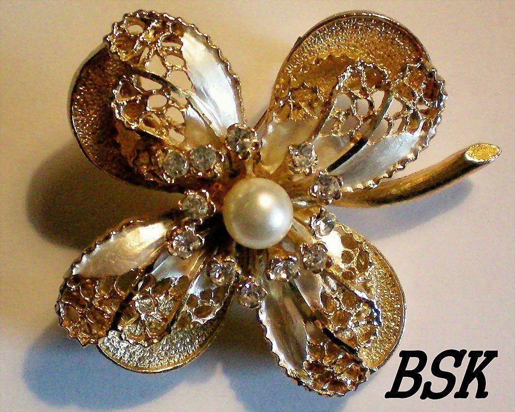 Signed BSK Multi Layered Flower Brooch