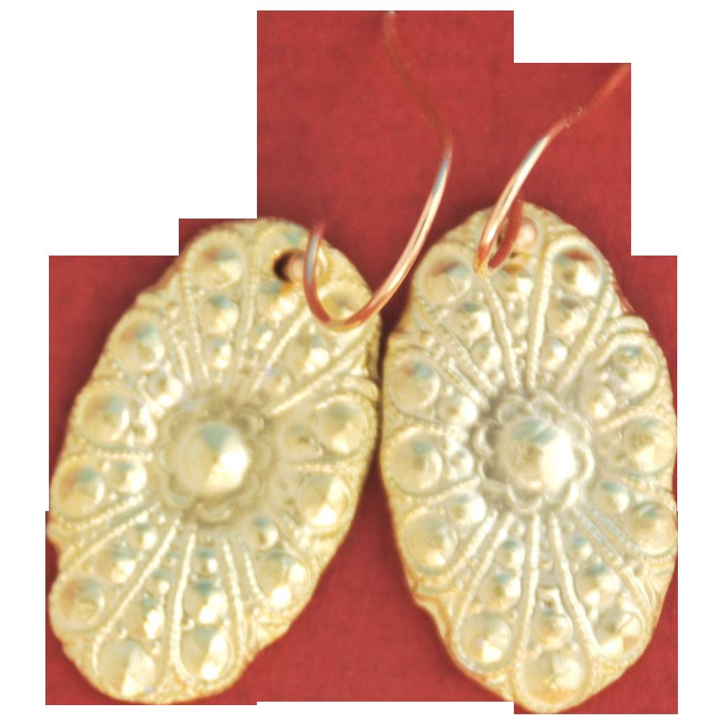 Solid 22k Gold Floral Drop Earrings