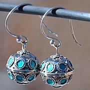 Exquisite Sterling Silver Handmade Bali Bell Earrings