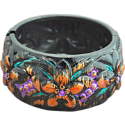 Hand-Patinaed Carved Acrylic Floral Cuff