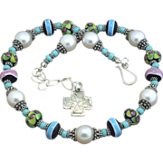 Handmade Lampwork Necklace with Stunning Handmade Bali Sterling and Shell Pearls