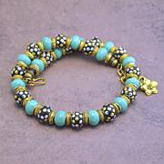 Think Spring Golden Tone Handmade Kashmiri Bead Necklace