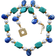 Things Finer: Lapis, Russian Amazonite and Shell Pearl Necklace With  24K Gold Vermeil
