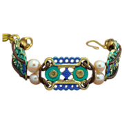 One of a Kind Patinaed Florentina Medallion Bracelet with Cultured Freshwater Pearls