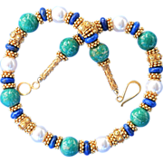 24k Gold Vermeil Lapis, Green Amazonite, Shell Pearl Bali Necklace