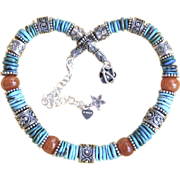 Bali Sterling, Natural Campitos and Bisbee Turquoise and Agate Necklace