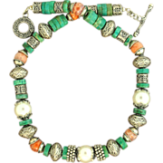 Bali Sterling Silver Beads, Fresh Water Pearl, Agate and Chinese Turquoise Necklace