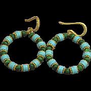 24K Gold Vermeil Malachite and Rare, Sleeping Beauty Turquoise Hoop Earrings