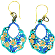 Chimayo Hand-Patinaed Blue, Butterfly and Flower Earrings