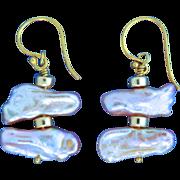 Gold Filled, Keshi Pearl Earrings