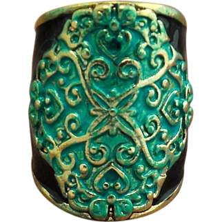 Vintage Brass Enamel and Hand-Patinaed Ring