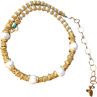 24K Gold Vermeil and Freshwater Cultured Pearl Baroque Necklace