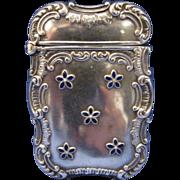 Vintage Sterling and Cobalt Enamel Flower Pattern Match Safe Matchsafe Vesta